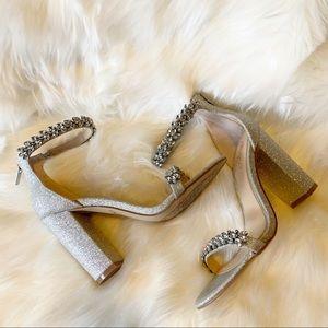 #Shimmery #Silver #Strappy #Rhinestone #ChunkyHeel